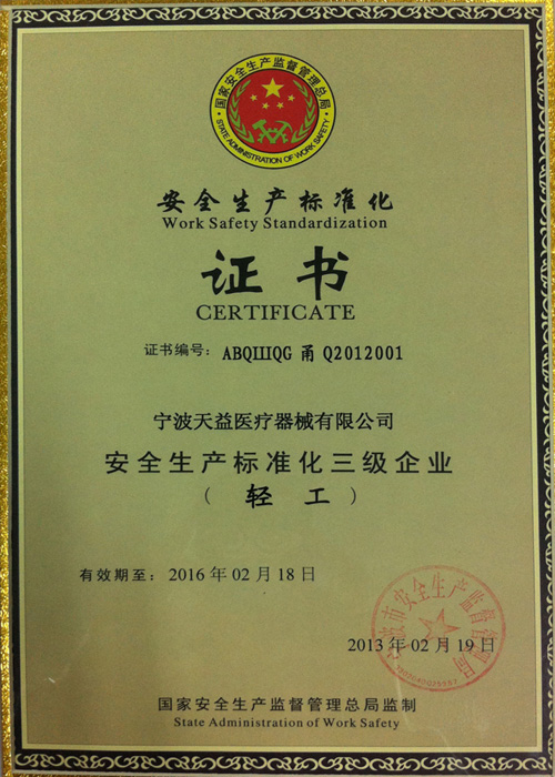 Safety Production Standardization Certificate